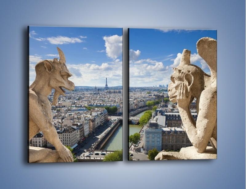 Obraz na płótnie – Kamienne gargulce nad Paryżem – dwuczęściowy prostokątny pionowy AM037
