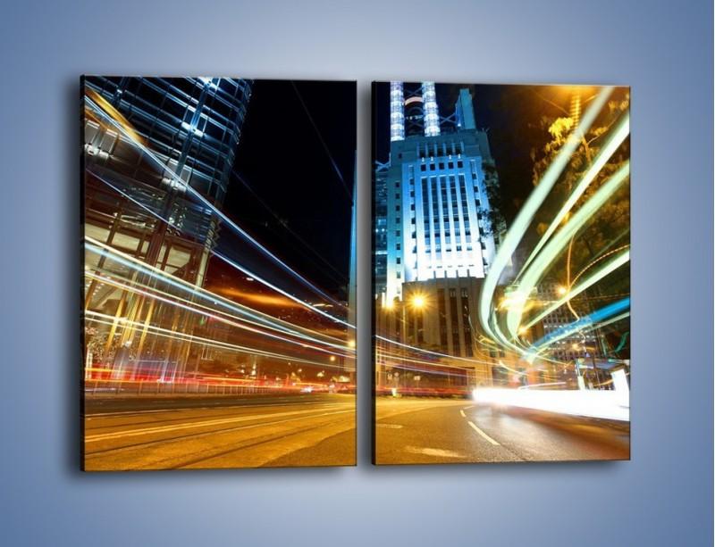 Obraz na płótnie – Światła w ruchu ulicznym – dwuczęściowy prostokątny pionowy AM048