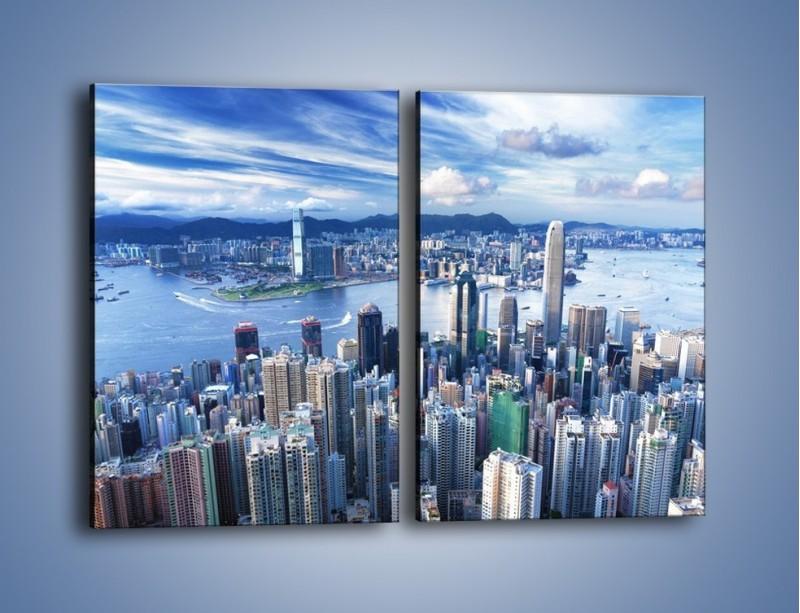 Obraz na płótnie – Miasto portowe o poranku – dwuczęściowy prostokątny pionowy AM050