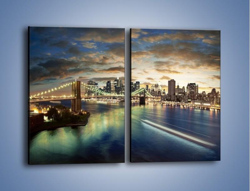 Obraz na płótnie – Oświetlony most w Nowym Jorku – dwuczęściowy prostokątny pionowy AM066