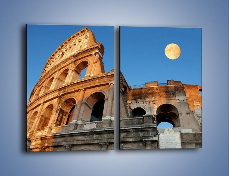 Obraz na płótnie – Pełnia księżyca nad Koloseum – dwuczęściowy prostokątny pionowy AM069