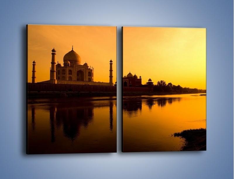 Obraz na płótnie – Taj Mahal o zachodzie słońca – dwuczęściowy prostokątny pionowy AM075