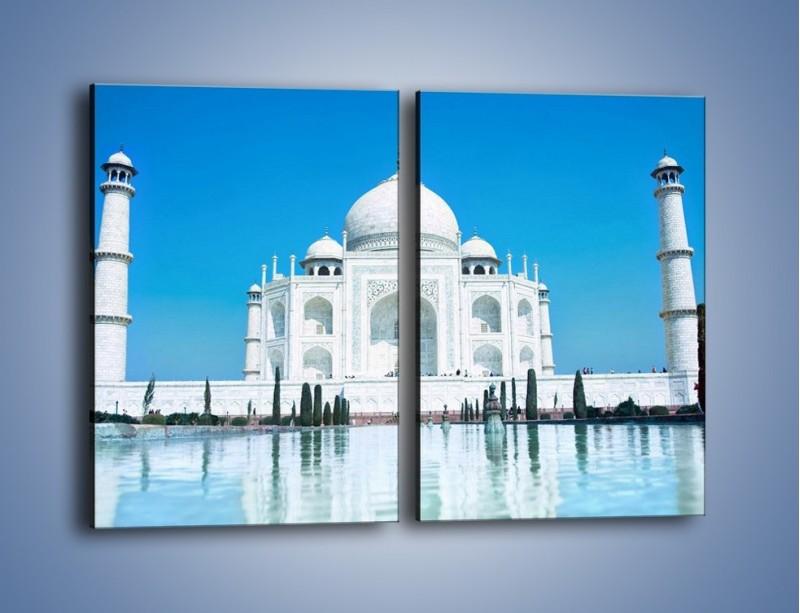 Obraz na płótnie – Taj Mahal pod błękitnym niebem – dwuczęściowy prostokątny pionowy AM077