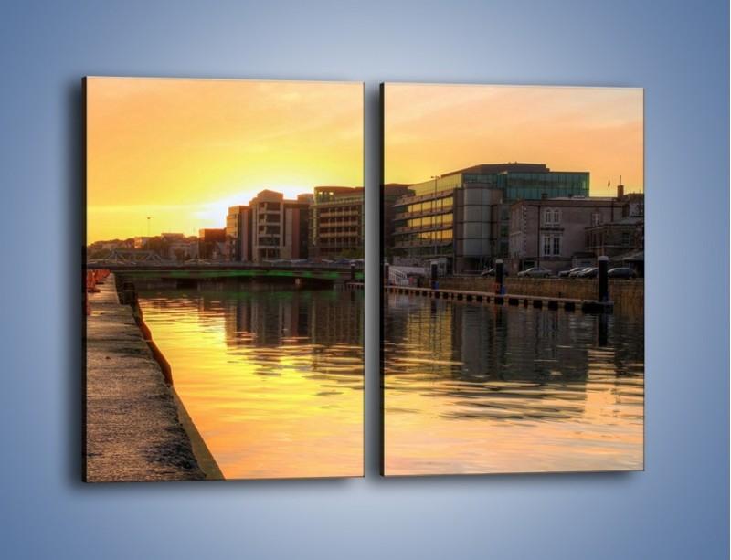 Obraz na płótnie – Kanał portowy o wschodzie słońca – dwuczęściowy prostokątny pionowy AM079
