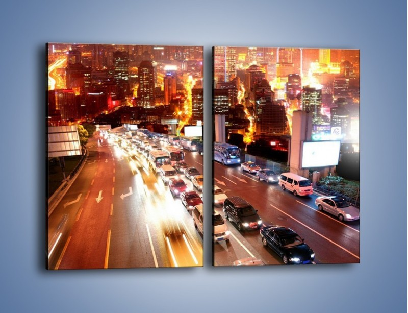 Obraz na płótnie – Wyjazd z zatłoczonego miasta – dwuczęściowy prostokątny pionowy AM080