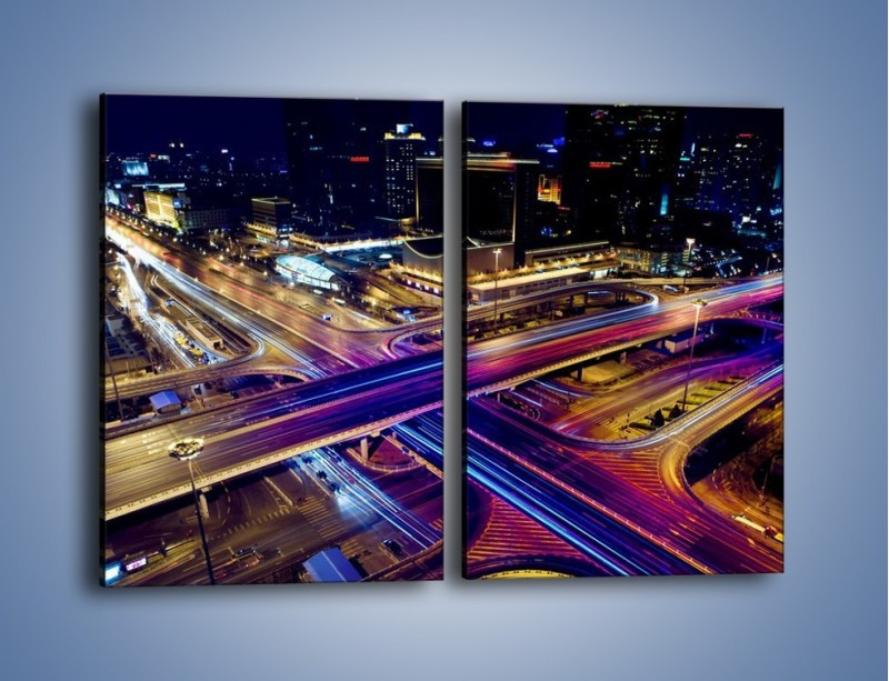 Obraz na płótnie – Skrzyżowanie autostrad nocą w ruchu – dwuczęściowy prostokątny pionowy AM087