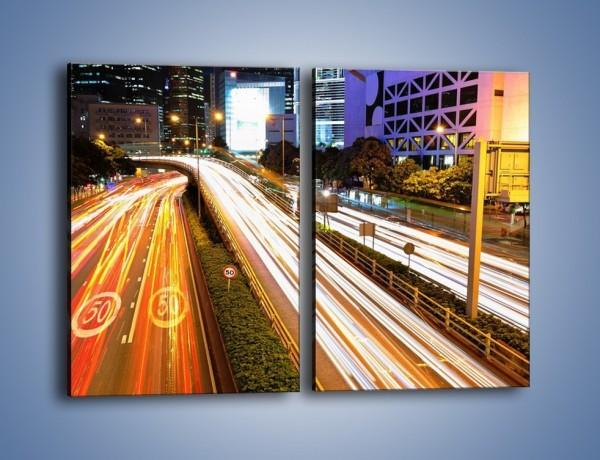 Obraz na płótnie – Ulice w ruchu w mieście – dwuczęściowy prostokątny pionowy AM089