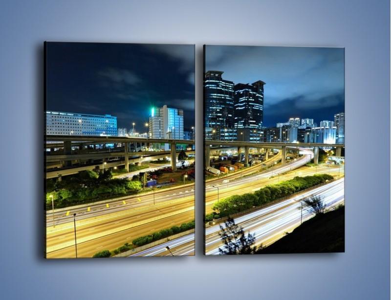 Obraz na płótnie – Przedmieście miasta wieczorem – dwuczęściowy prostokątny pionowy AM091