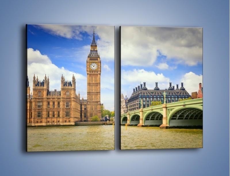 Obraz na płótnie – Big Ben w pochmurny dzień – dwuczęściowy prostokątny pionowy AM095