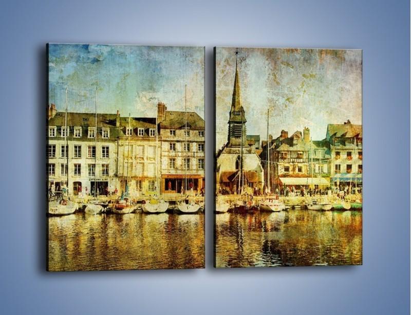 Obraz na płótnie – Łódki nad brzegiem miasteczka w stylu vintage – dwuczęściowy prostokątny pionowy AM108