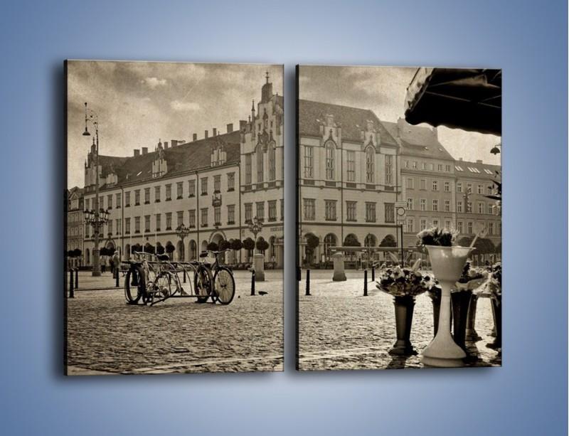 Obraz na płótnie – Rynek Starego Miasta w stylu vintage – dwuczęściowy prostokątny pionowy AM138