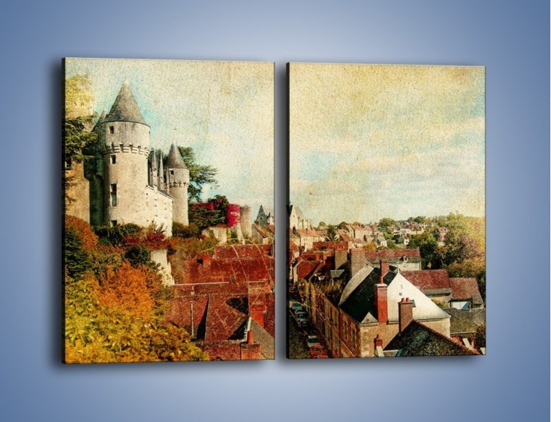 Obraz na płótnie – Zamek nad miasteczkiem w stylu vintage – dwuczęściowy prostokątny pionowy AM142