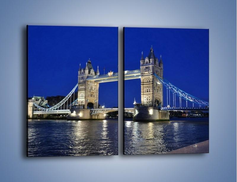Obraz na płótnie – Tower Bridge nocą – dwuczęściowy prostokątny pionowy AM145