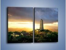 Obraz na płótnie – Azjatycka architektura o poranku – dwuczęściowy prostokątny pionowy AM151