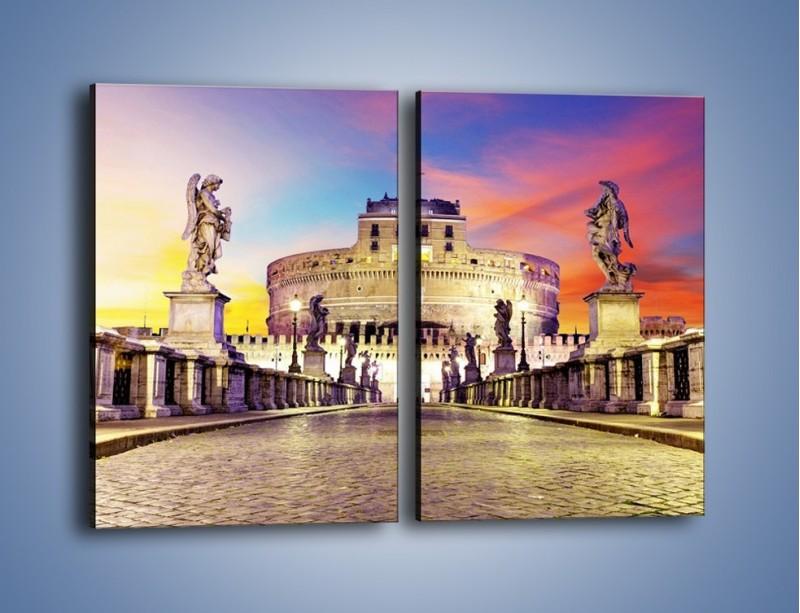 Obraz na płótnie – Zamek św. Anioła na tle kolorowego nieba – dwuczęściowy prostokątny pionowy AM156