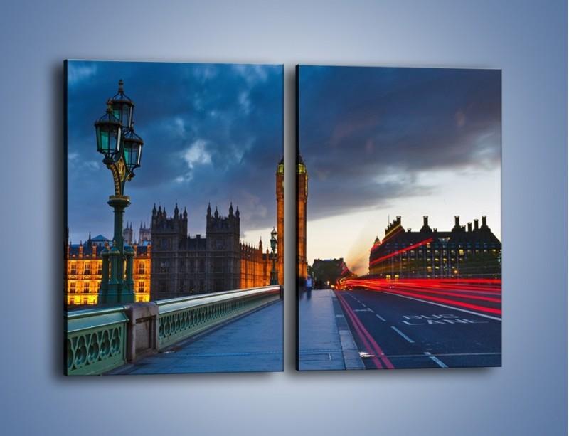 Obraz na płótnie – Big Ben świetle lamp – dwuczęściowy prostokątny pionowy AM166