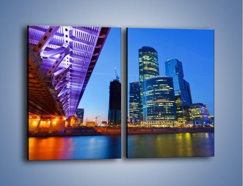 Obraz na płótnie – Kolorowy most nad rozświetloną rzeką – dwuczęściowy prostokątny pionowy AM169
