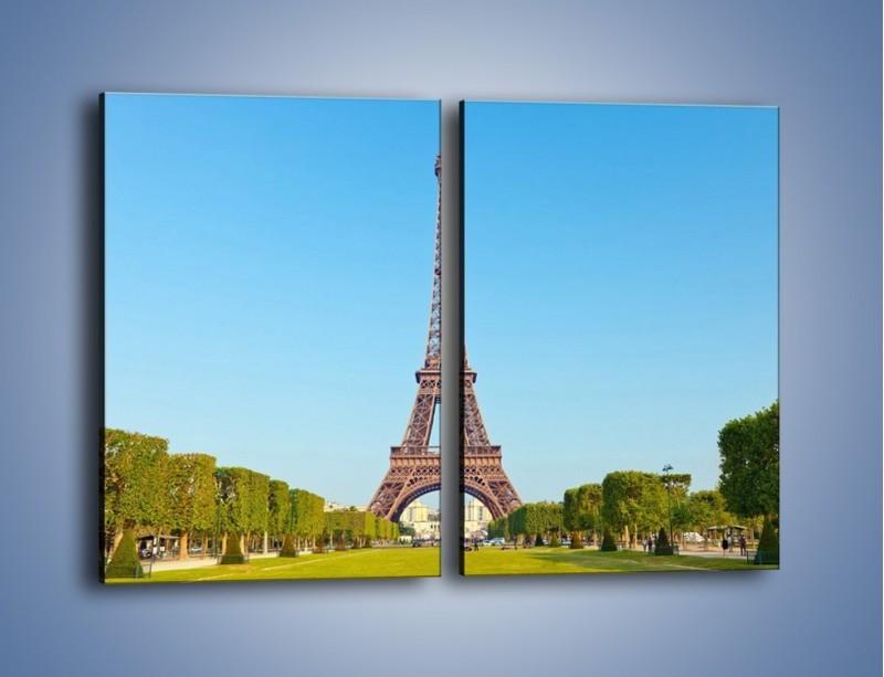 Obraz na płótnie – Wieża Eiffla pod błękitnym niebem – dwuczęściowy prostokątny pionowy AM171