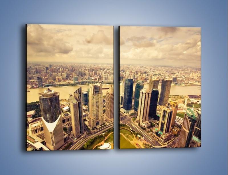 Obraz na płótnie – Miasto w pochmurny dzień – dwuczęściowy prostokątny pionowy AM178