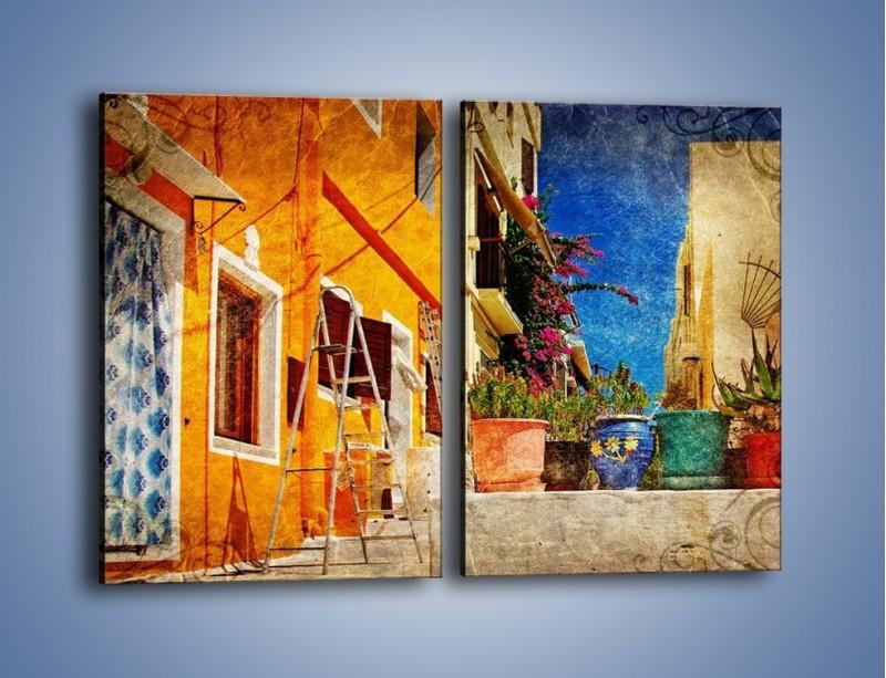 Obraz na płótnie – Greckie domki w stylu vintage – dwuczęściowy prostokątny pionowy AM190