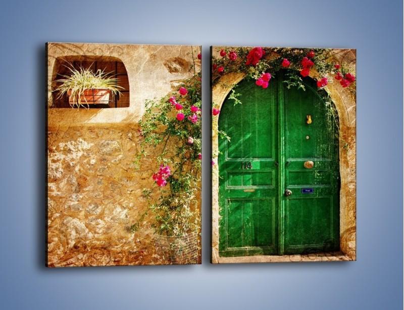 Obraz na płótnie – Drzwi w greckim domu vintage – dwuczęściowy prostokątny pionowy AM192