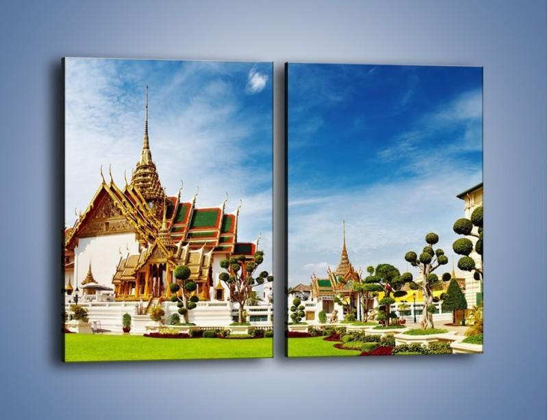 Obraz na płótnie – Tajska architektura pod błękitnym niebem – dwuczęściowy prostokątny pionowy AM197