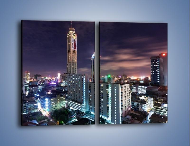 Obraz na płótnie – Duże miasto nocą – dwuczęściowy prostokątny pionowy AM202