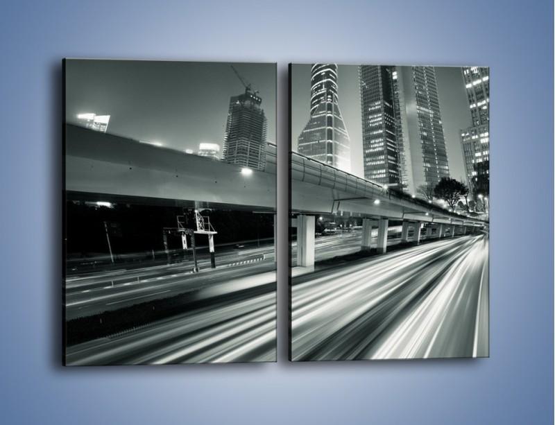 Obraz na płótnie – Miasto w odcieniach szarości – dwuczęściowy prostokątny pionowy AM205