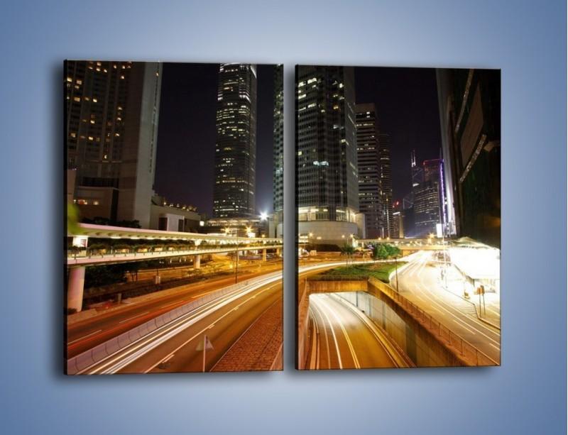 Obraz na płótnie – Miasto w nocnym ruchu ulicznym – dwuczęściowy prostokątny pionowy AM225