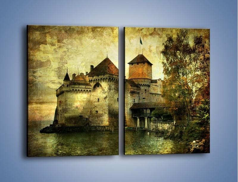 Obraz na płótnie – Średniowieczny zamek w stylu vintage – dwuczęściowy prostokątny pionowy AM233