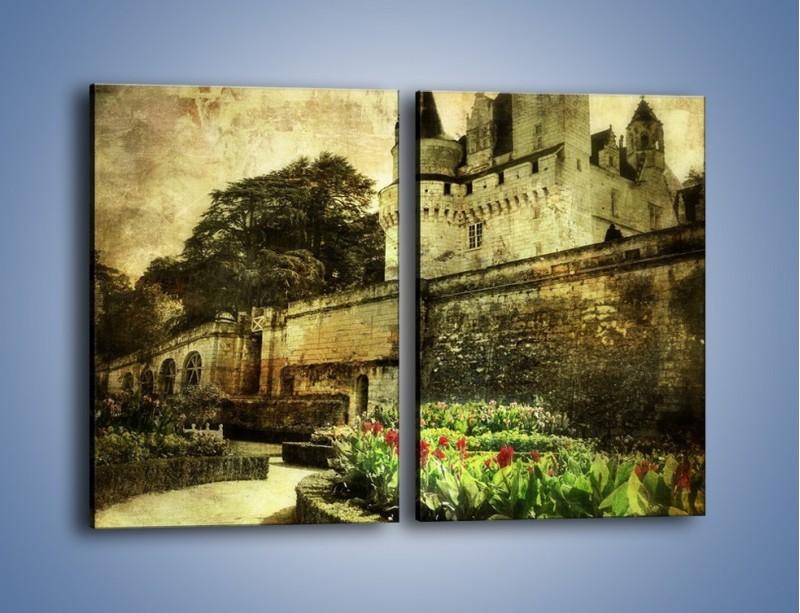 Obraz na płótnie – Zamek w stylu vintage – dwuczęściowy prostokątny pionowy AM234
