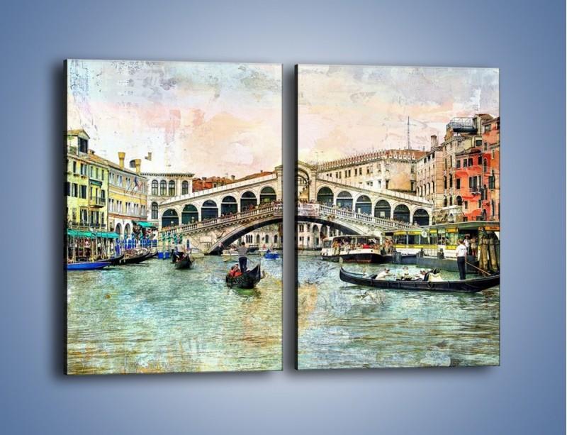 Obraz na płótnie – Wenecja w stylu vintage – dwuczęściowy prostokątny pionowy AM239