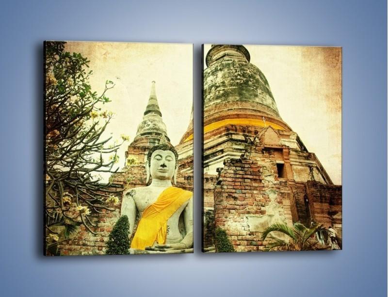 Obraz na płótnie – Tybetańska architektura w stylu vintage – dwuczęściowy prostokątny pionowy AM247