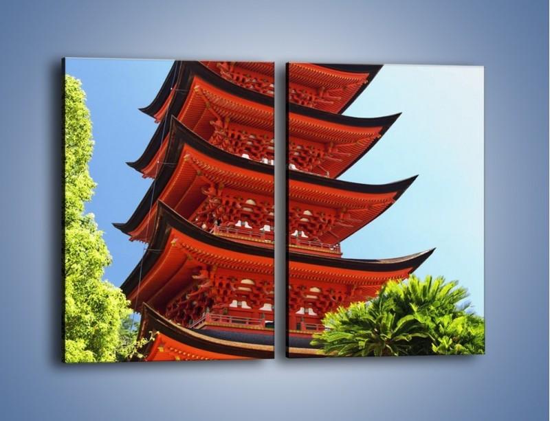 Obraz na płótnie – Japońska architektura wśród drzew – dwuczęściowy prostokątny pionowy AM252