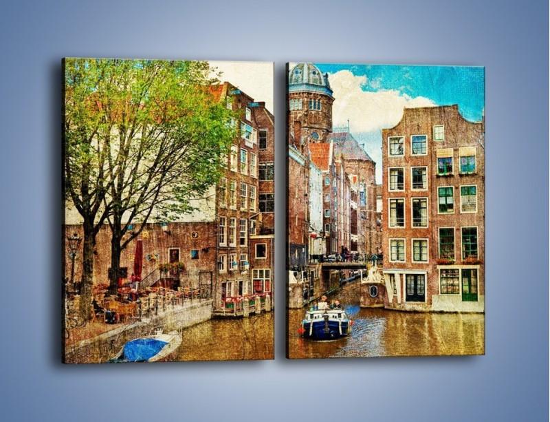 Obraz na płótnie – Kanał w Amsterdamie vintage – dwuczęściowy prostokątny pionowy AM259
