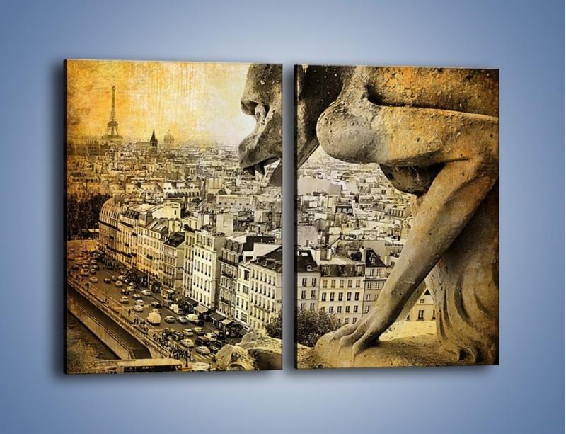 Obraz na płótnie – Paryski gargulec w stylu vintage – dwuczęściowy prostokątny pionowy AM260