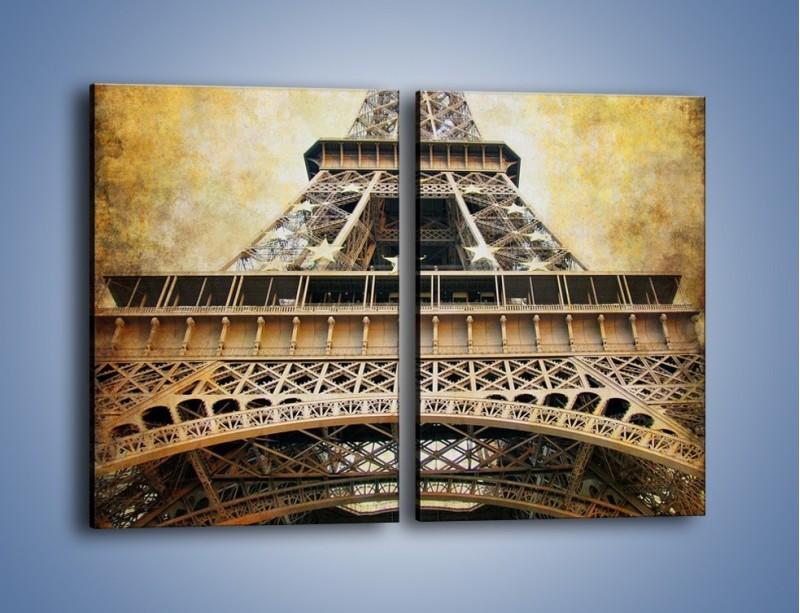 Obraz na płótnie – Wieża Eiffla w stylu vintage – dwuczęściowy prostokątny pionowy AM261