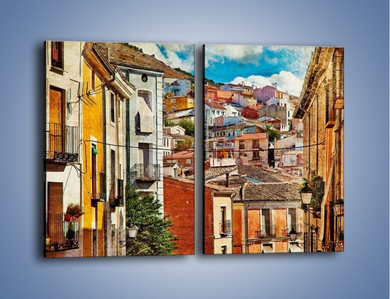 Obraz na płótnie – Kolorowe domki na wzgórzu vintage – dwuczęściowy prostokątny pionowy AM264