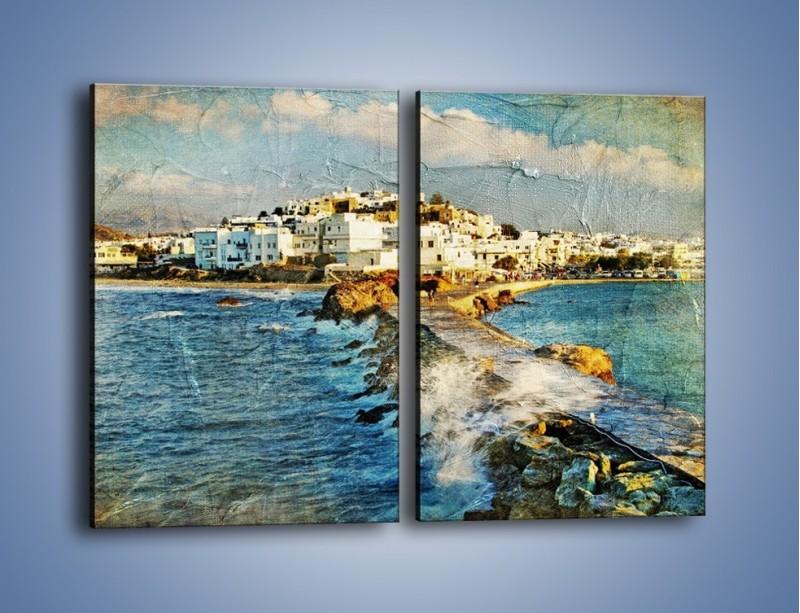 Obraz na płótnie – Grecka dróżka przez wodę vintage – dwuczęściowy prostokątny pionowy AM268