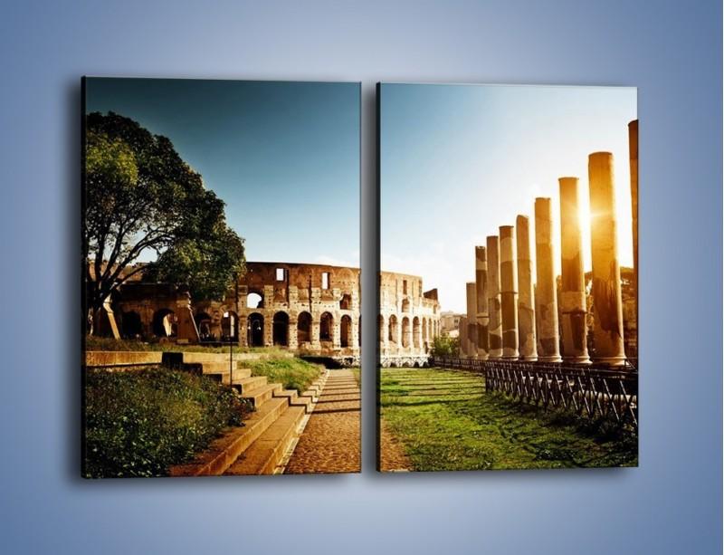 Obraz na płótnie – Koloseum w świetle słońca – dwuczęściowy prostokątny pionowy AM269