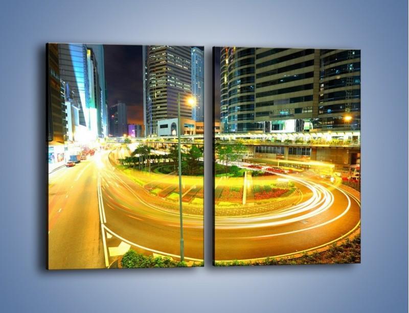 Obraz na płótnie – Światła samochodów w ruchu – dwuczęściowy prostokątny pionowy AM280