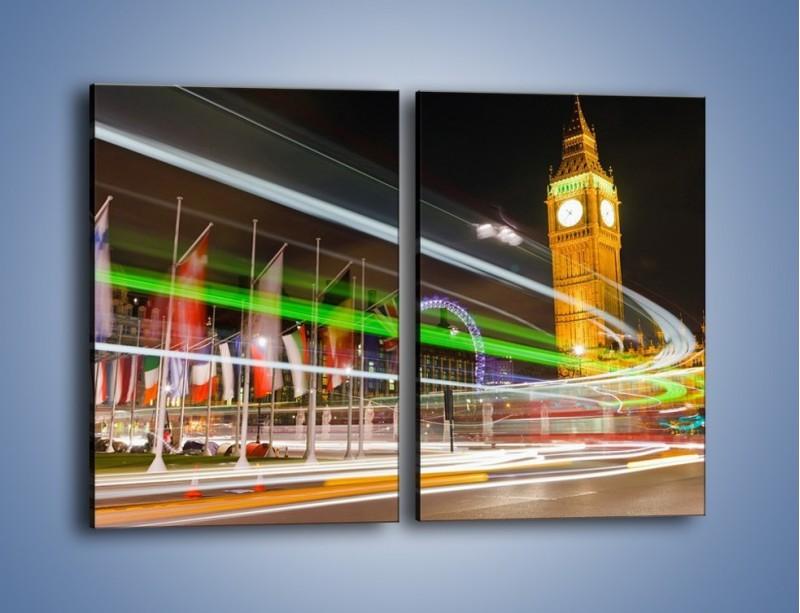Obraz na płótnie – Światła samochodów na tle Big Bena – dwuczęściowy prostokątny pionowy AM283