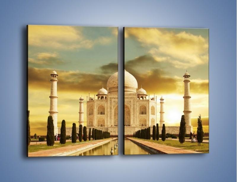 Obraz na płótnie – Tadź Mahal o zachodzie słońca – dwuczęściowy prostokątny pionowy AM285