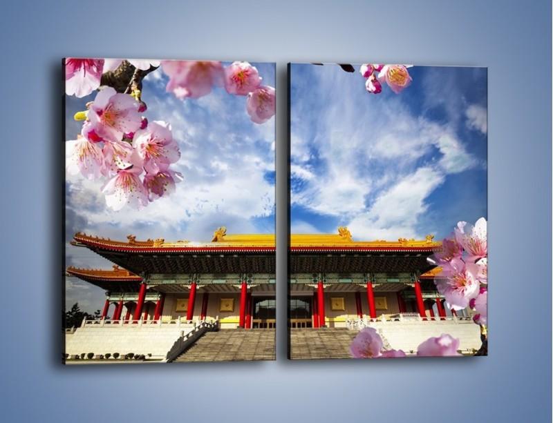 Obraz na płótnie – Azjatycka architektura z kwiatami – dwuczęściowy prostokątny pionowy AM298