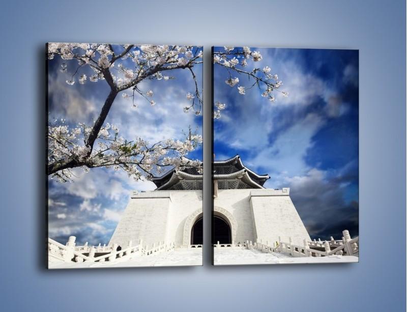 Obraz na płótnie – Azjatycka architektura z białymi kwiatami – dwuczęściowy prostokątny pionowy AM300