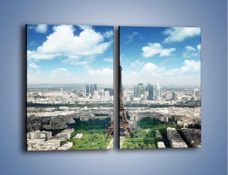 Obraz na płótnie – Chmury nad Wieżą Eiffla – dwuczęściowy prostokątny pionowy AM302