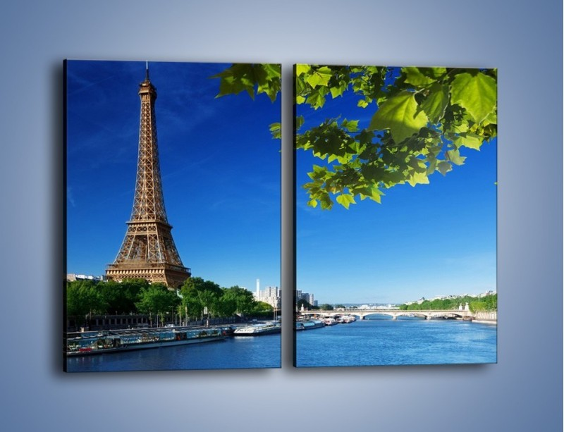 Obraz na płótnie – Wieża Eiffla w piękny dzień – dwuczęściowy prostokątny pionowy AM304