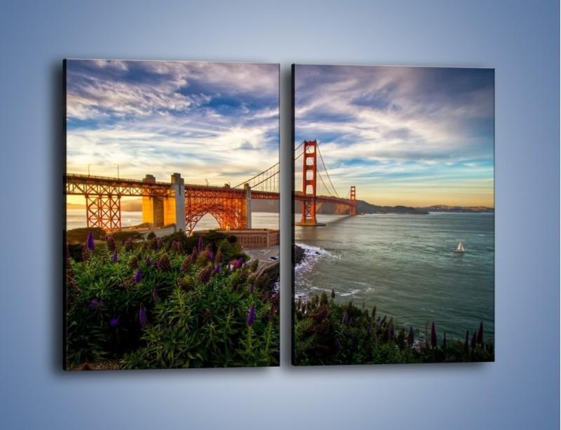 Obraz na płótnie – Most Golden Gate o zachodzie słońca – dwuczęściowy prostokątny pionowy AM332