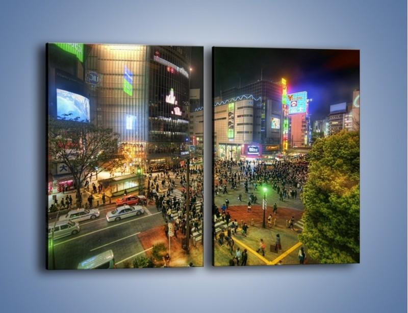 Obraz na płótnie – Zatłoczone ulice Toyko nocą – dwuczęściowy prostokątny pionowy AM333