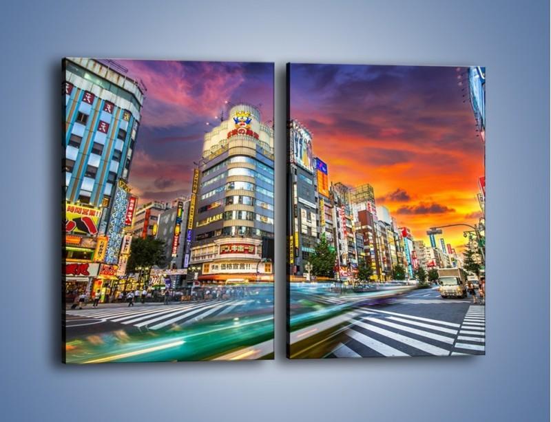 Obraz na płótnie – Tokyo na tle kolorowego nieba – dwuczęściowy prostokątny pionowy AM336